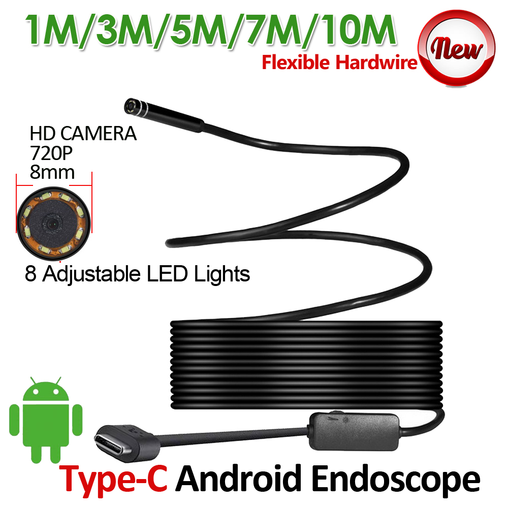 8mm Lens HD720P USB TypeC Android Endoscope Camera 1M 3M 5M 7M 10M Flexible Snake Hardwire USB Endoscope Camera Pipe Inspection 7mm lens mini usb android endoscope camera waterproof snake tube 2m inspection micro usb borescope android phone endoskop camera