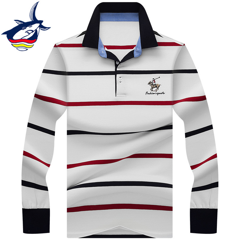 2019 Men   Polo   Shirt Brand High Quality Striped   Polo   Shirt Men Long Sleeve 3D Embroidery Tace & Shark camisa   polo   masculina
