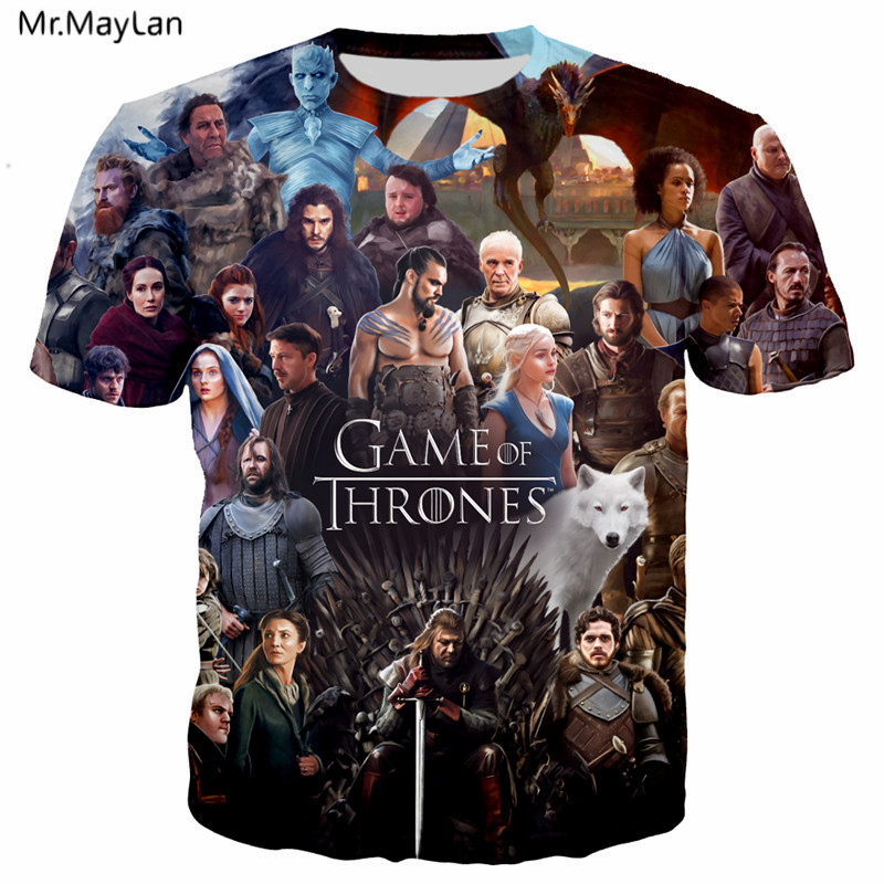 TV Game of Thrones Cool 3D Print T shirt Men women Hiphop T shirt Boys Hipster Casual Loose Tshirt Tops Clothes Oversized 5XL in T Shirts from Men 39 s Clothing