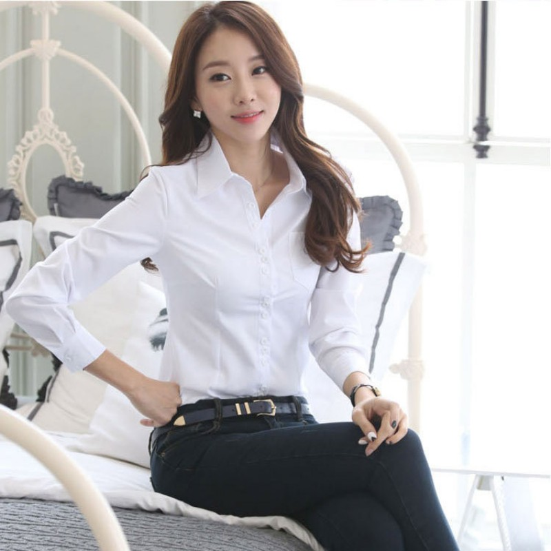Spring Summer Career White   Shirt   Female Long-sleeved Slim   Shirt   Formal   Blouse   Overalls OL