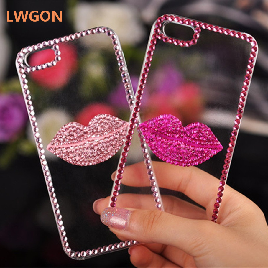 Casing For <font><b>OPPO</b></font> A7 A5 A3s A3 A1, Luxury Bling Daimond Rose Pink Lip Lovely <font><b>Case</b></font> For <font><b>OPPO</b></font> <font><b>A35</b></font> A37 A59 A57 A83 A77 A73 A71 2018 image