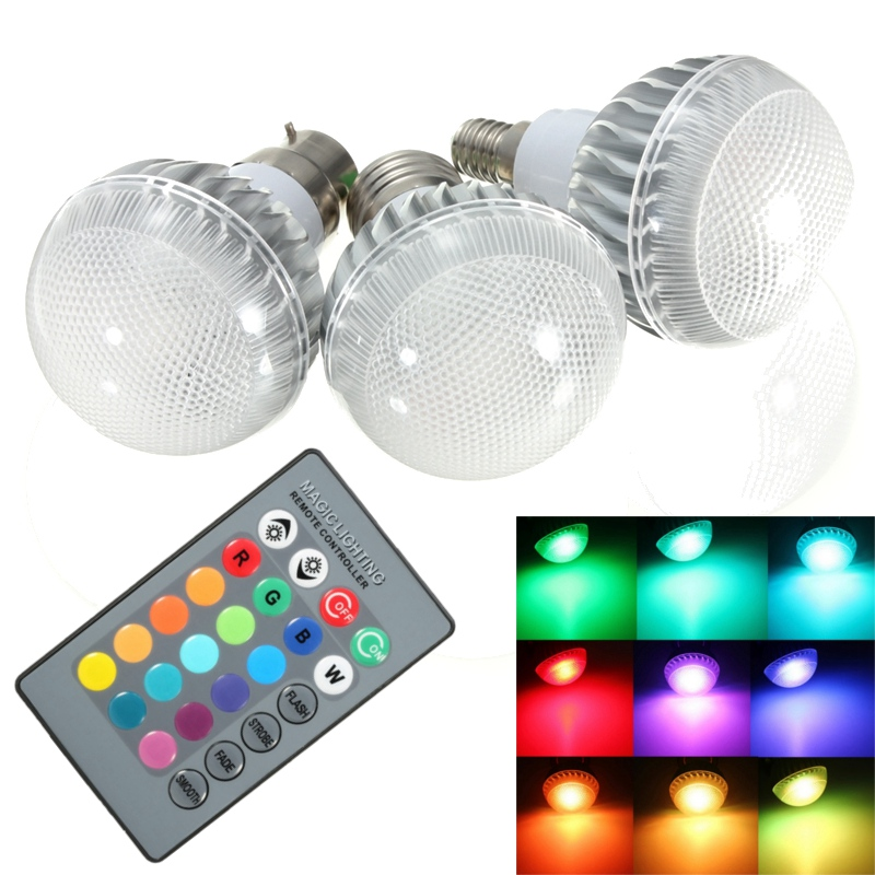 LED Lamp Bulb B22/E27/E14 Real Power 3W RGB Remote Control 16 Colour Changing LED Light Bulb AC85-265V Home Decoration Lights agm rgb led bulb lamp night light 3w 10w e27 luminaria dimmer 16 colors changeable 24 keys remote for home holiday decoration