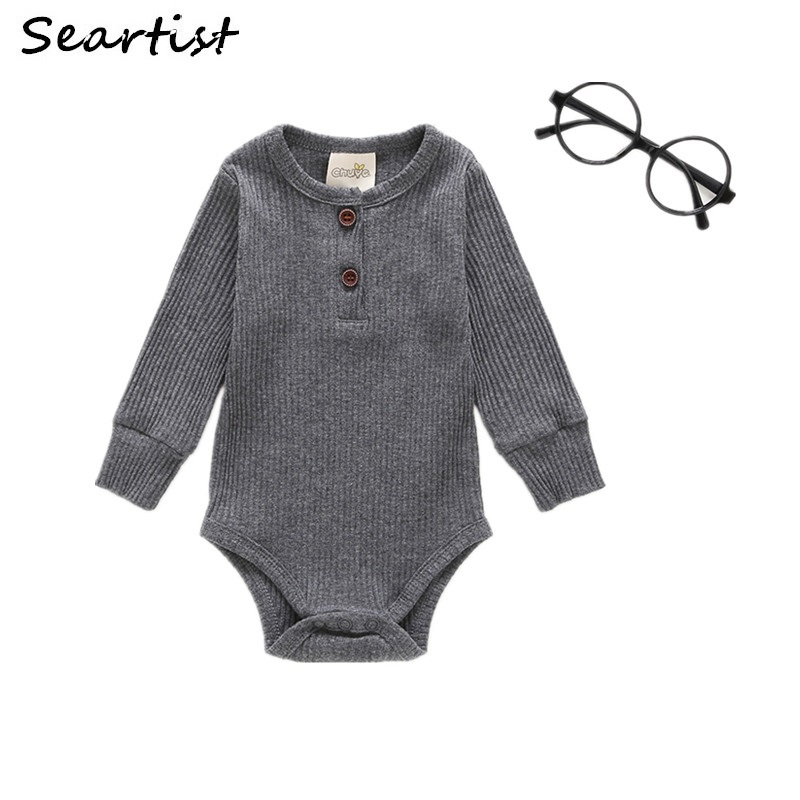 Seartist Baby Boys Girls Bodysuit Bebes Solid Color Gray Black Jumpsuit Newborn Baby Boy Ribbed Clothes Outfit 0-2Y 2019 New  45