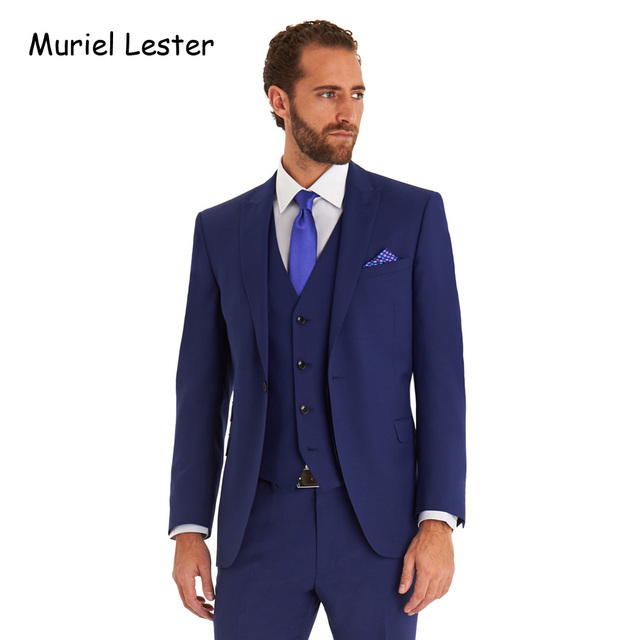 50fabbadf3 Muriel Lester terno masculino Navy Blue 3 Pieces Wedding Suits for Men  Groom Tuxedos costume mariage homme men suit Grey suits