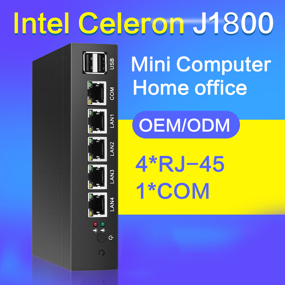Fanless Mini PC 4 LAN Gigabit Ethernet NIC Intel Celeron J1800 2.41 ghz Routeur Pfsense Firewall Serveur Windows 10 VGA RJ45 Consel