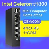 Fanless Mini PC 4 LAN Gigabit Ethernet NIC Intel Celeron J1800 2.41GHz Router Pfsense Firewall Server Windows 10 VGA RJ45 Consel