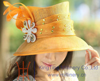 Free Shipping Hot Sale Fashion New Arrival Fashion Elegant Women Hat Sinamay Hat Orange Color Sinamay Fabric Feather Brooch