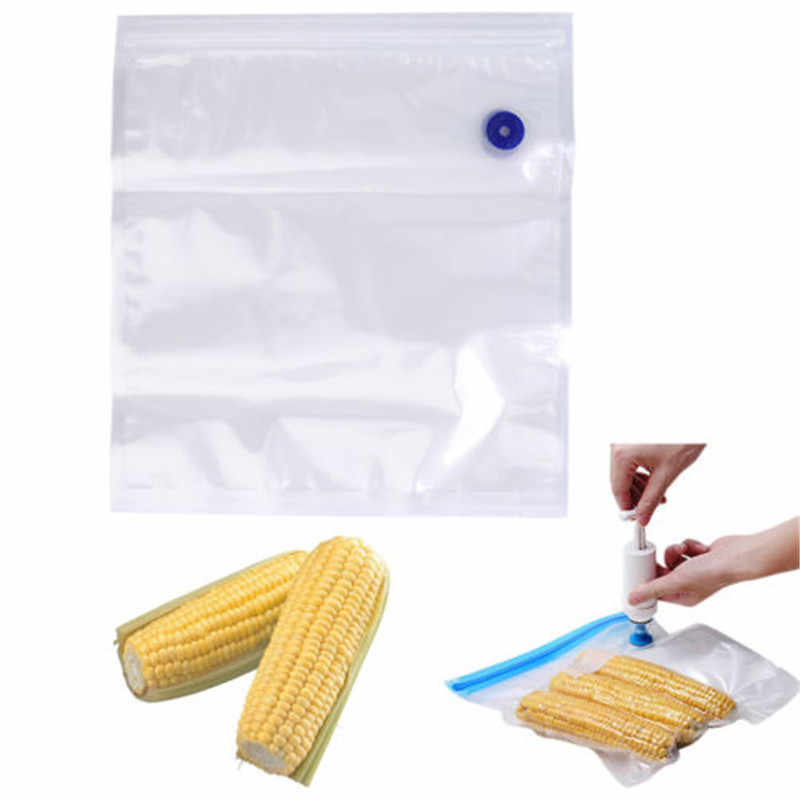 5pcs/lot Reusable PE Vacuum Bags with Stickers Fresh-keeping Food Storage Bag Zipper Food Savers Travel Sealing Bags
