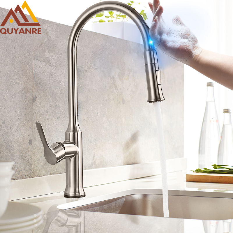Quyanre Pull Out Touch Senser Kitchen Faucet  360 Rotation Smart Kitchen Faucet Sensor Tap Faucet Single Handle Mixer Tap Faucet