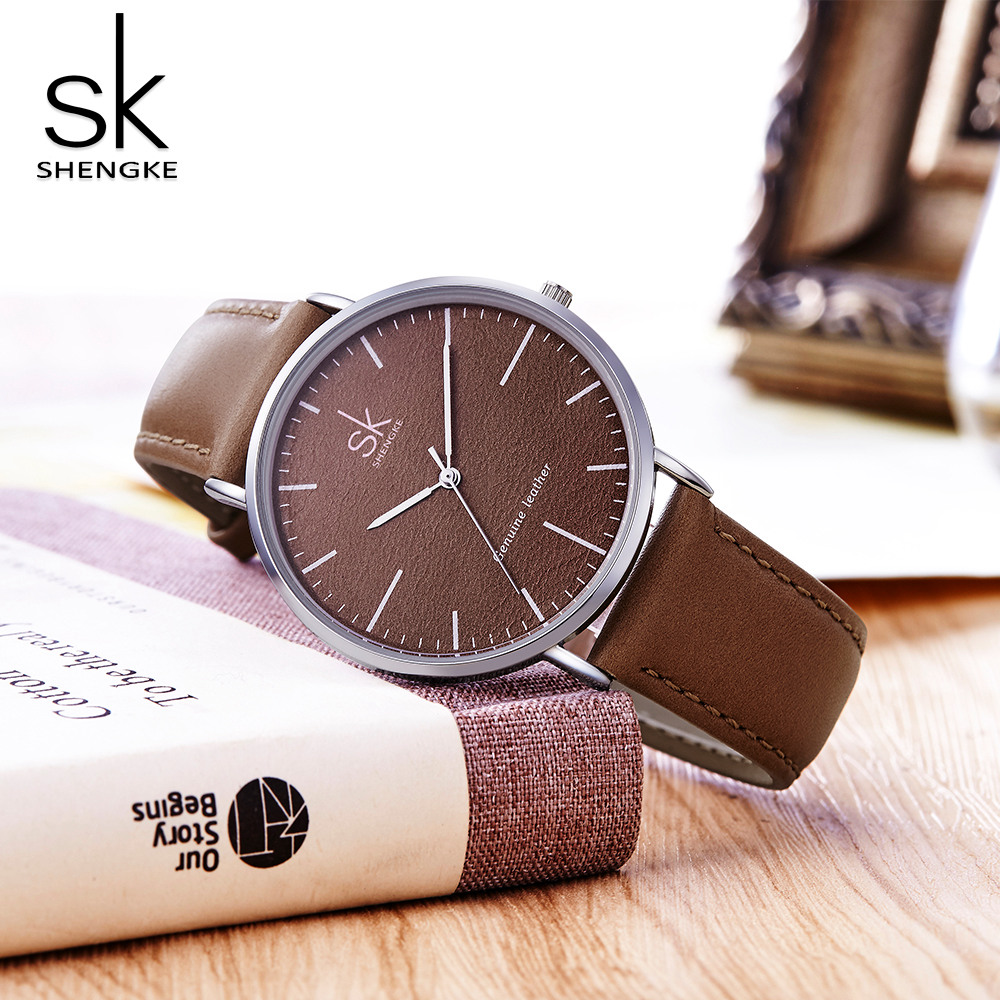 SK Genuine Leather Women Watches Luxury Brand Quartz Watch Casual Ladies Watches Women Clock Montre Femme Relogio Feminino Saat punk jewelry rome scale women watches quartz watch luxury brand genuine leather band bangle montre skull cat zegarki damskie