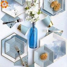 Vajilla desechable a rayas de la serie Azul, platos de papel dorado DIY, vajilla para Decoración de mesa de boda, suministros de fiesta de cumpleaños, 1 Juego