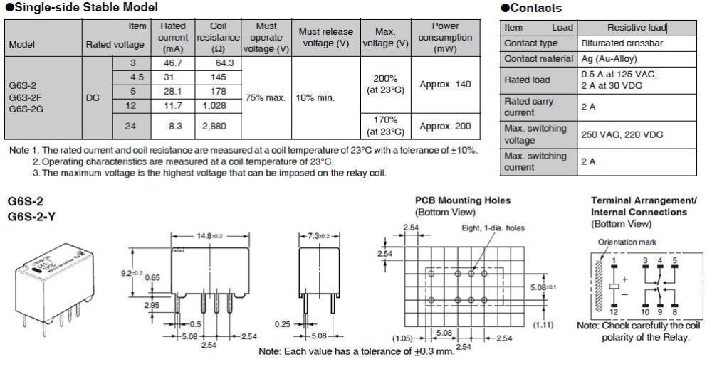 5Pcs G6S-2 5VDC 12VDC 24VDC Relay Module 2A 250VAC/DC220V 8PIN