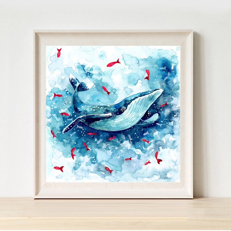 sea animal whale silhouette canvas art wall pictures for modern home decor watercolor blue. Black Bedroom Furniture Sets. Home Design Ideas