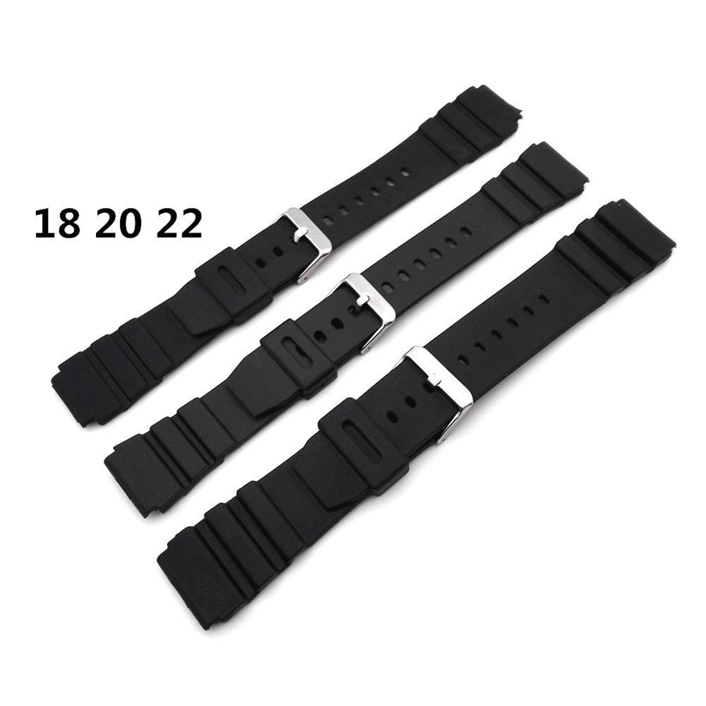 18-22mm Men Black Silicone Rubber Waterproof Sport Wrist Watch Band Strap Watch Accessories High Quality Watchbands Bracelet