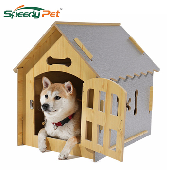 Domestic delivery Fashion Dog DIY House Crate Wooden Kennel Indoor Condo Pet Shelter for Small Medium Dogs and Cats
