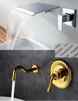 American Brass SUS304 Waterfall Kitchen Faucet Wall Mount Bathroom Basin Sink Faucet Chrome Gold Mixer
