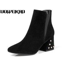 Rivet Heels font b Shoes b font font b Women b font Medium Heel Short Boots