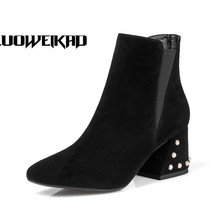 Rivet Heels Shoes Women Medium Heel Short Boots Side Zip Ankle Boots For Women