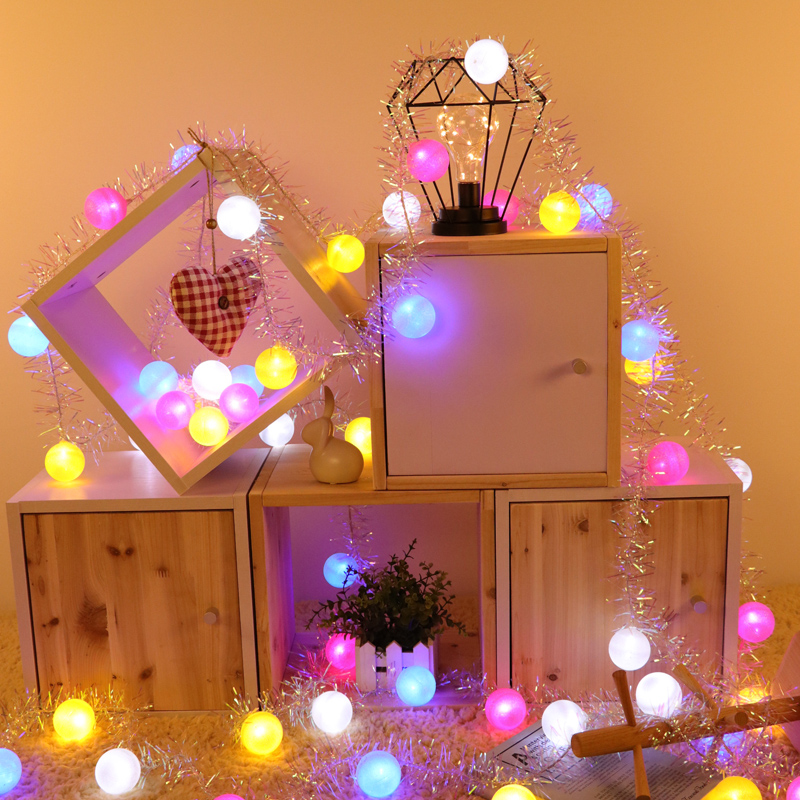 Macaron Ball With Silver Garland Bar Fairy Light Outdoor Led String Garland New Year Christmas Decorations for Home Natal Noel
