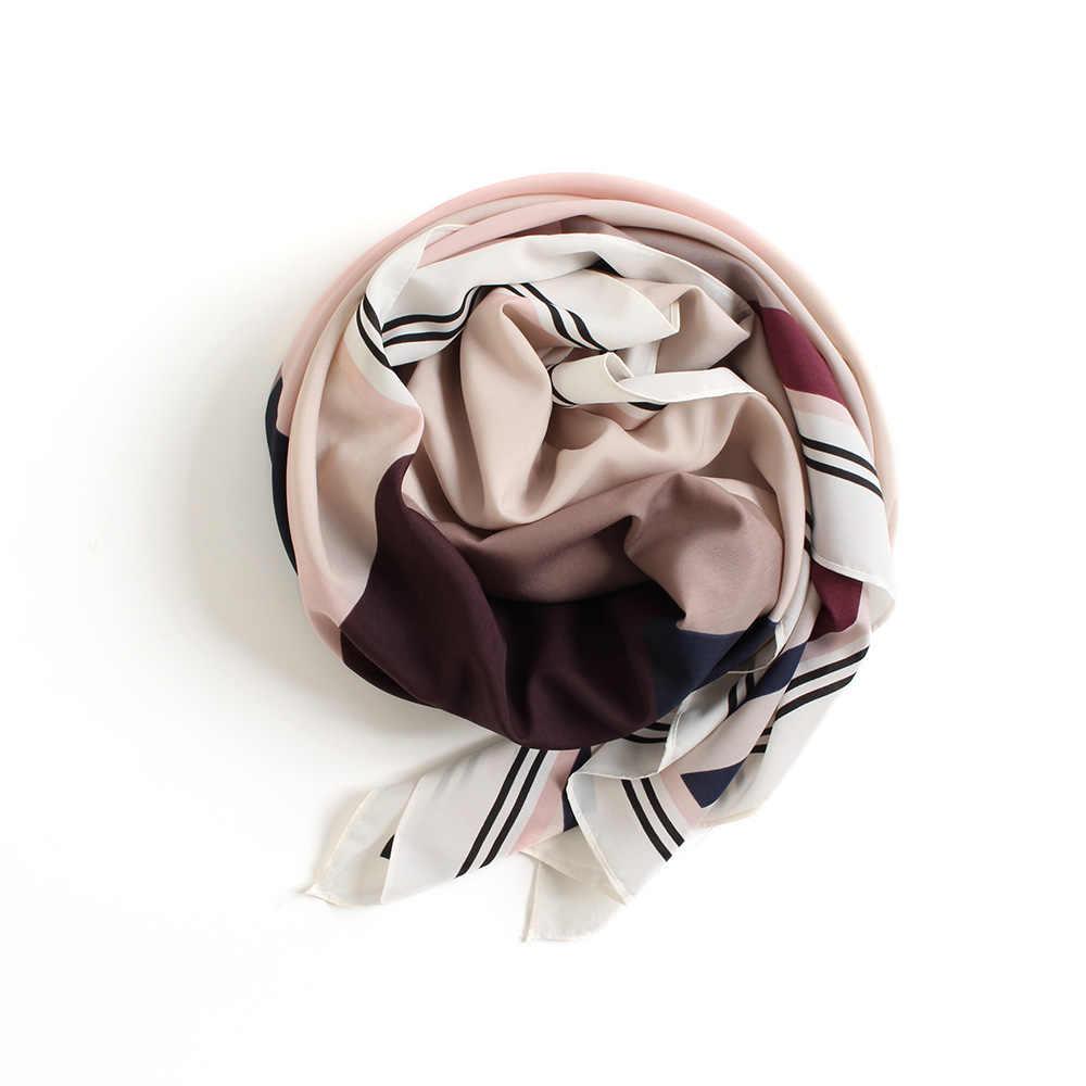 88a8de6d2bb [BQACCES] New Silk Square Scarf Women Geometric Print Georgette Silk  Scarves Thin Fashion Headband Bandana Shawl Wraps 130*130cm