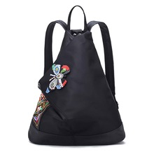 2017 New Vintage Women's Backpack Traditional Embroidery Ethnic Flowers Lady Shoulder Bag Girl's Fashion Black Backpack XA1798C