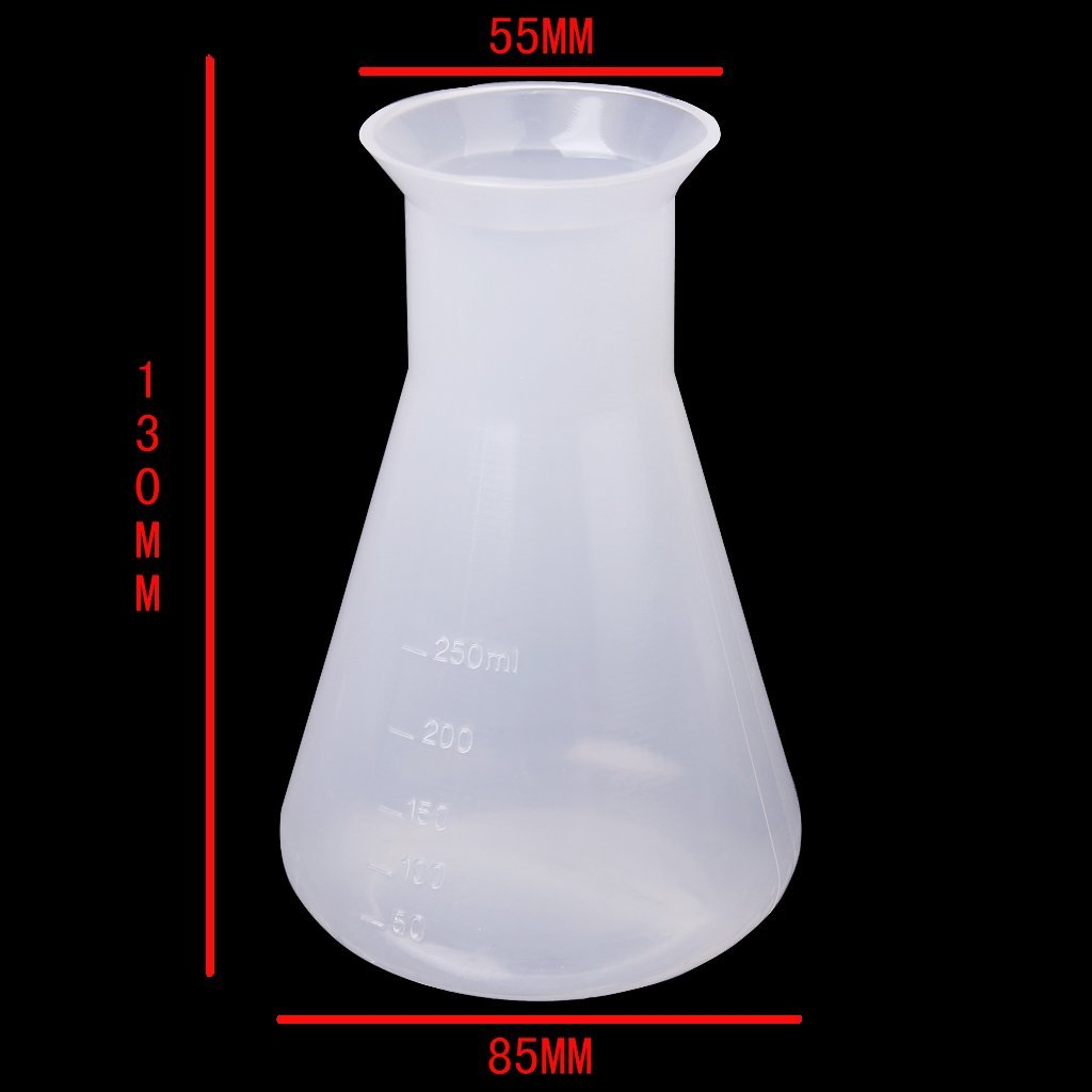 Plastic Transparent Laboratory Chemical Erlenmeyer Flasks Container Bottle - 250 Ml