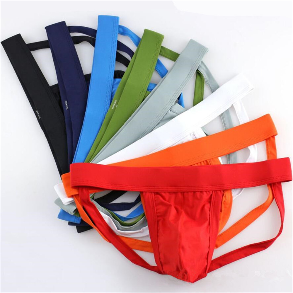 EU Size S-XXL Brand Men Underwear Sexy Jockstrap Thongs Sexy Bikini G-strings Jocks Man Backless Cuecas Penis Pouch(China)