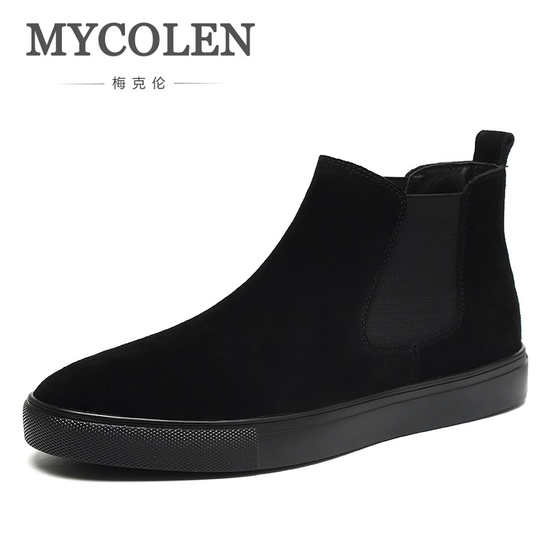 MYCOLEN 2019 New Brand Winter Shoes Personality Genuine Leather Chelsea Ankle Boots Elegant Formal  Boots Erkek BotMYCOLEN 2019 New Brand Winter Shoes Personality Genuine Leather Chelsea Ankle Boots Elegant Formal  Boots Erkek Bot