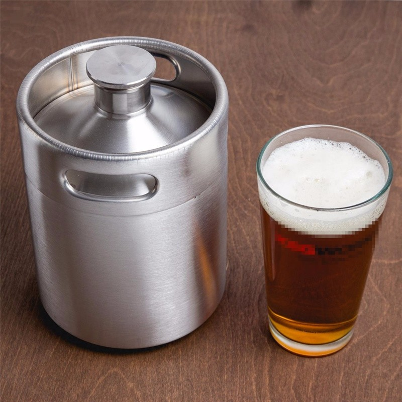 Brand New Stainless Steel 2L 64oz Mini Beer Bottle Barrels Beer Keg Screw Cap Beer Growler
