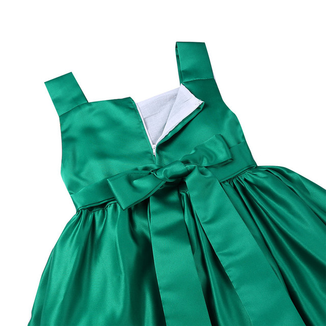 Kids Embroidered Green Satin Dress