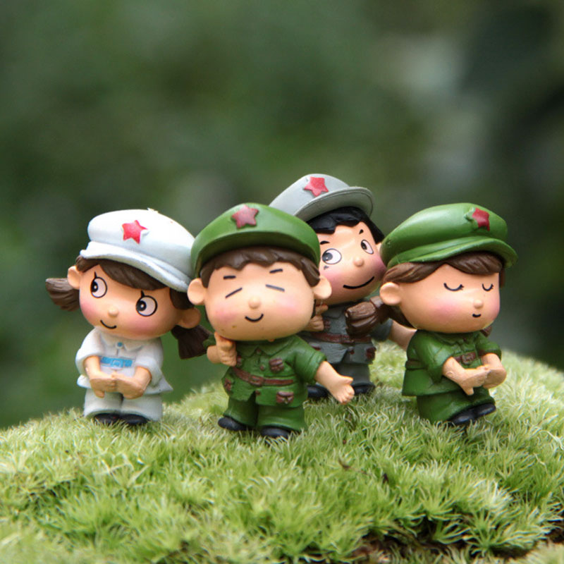 Lover Soldiers Miniature Garden Home Houses Decoration Mini Craft Micro Landscaping Decor DIY Accessories