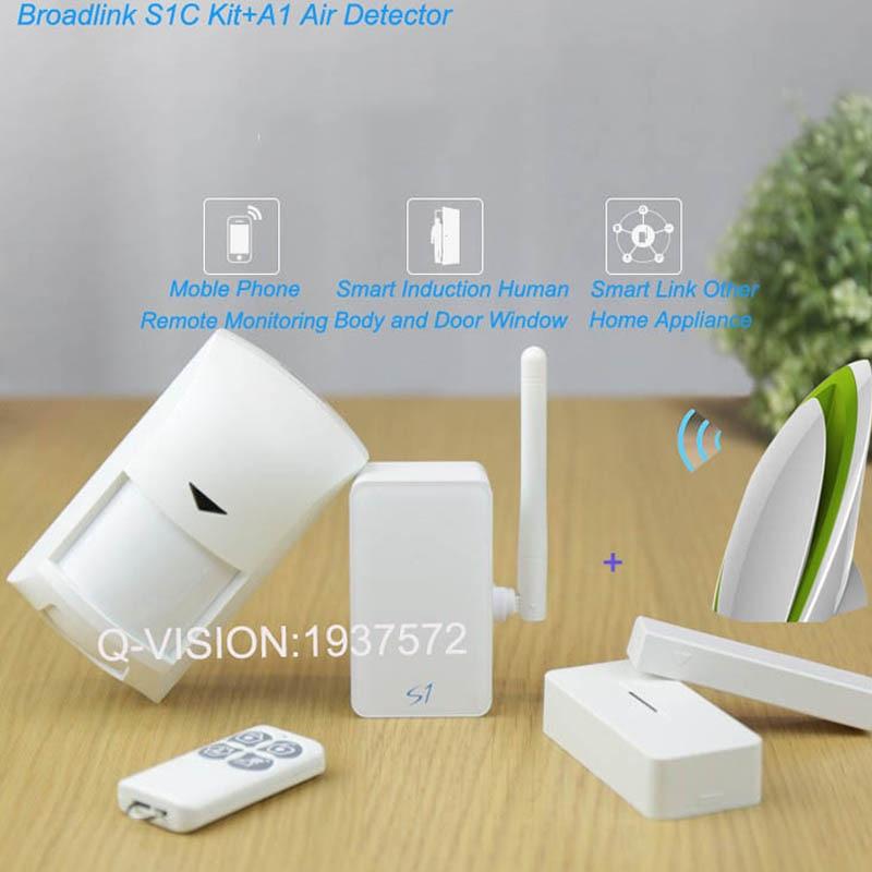цена на Broadlink A1 Air Detector Sensor+Smart Home Security Kit,SmartONE S1C PIR Motion&Door Sensor APP Remote Contorl by IOS Android