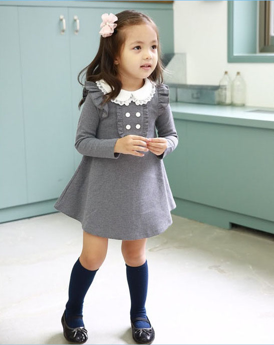 HTB1.oeeLpXXXXa4XVXXq6xXFXXXj - 2017 spring autumn new arrival cotton girl korean clothes doll collar long sleeved casual girls A-line mini dress kids clothing