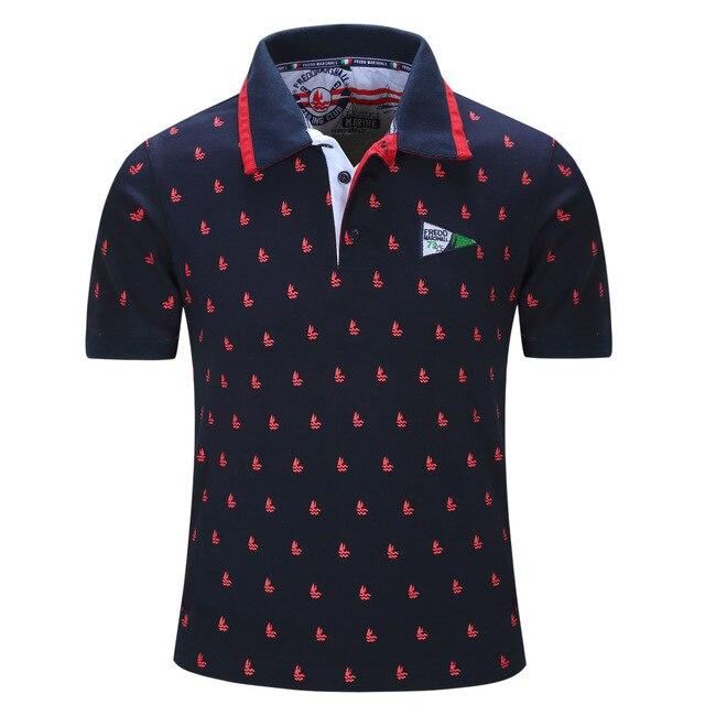 Nueva Llegada 2016 Camisas de Polo para Los Hombres de Alta Calidad Del Collar Del Soporte de Insignia Agradable Allover Bordado Algodón de Moda Polo Homme Marca