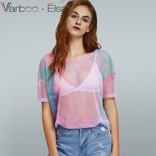 VARBOO_ELSA Summer Women Perspective Mesh T Shirt Gradient color See-through T-shirt  Female Harajuku Sexy short Sleeve Tops