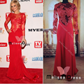 Sexy Red Lace Applique Sheer Top Long Sleeves Evening Prom Dress 2013 TV Week Logie Awards Samara Weaving Celebrity Dress