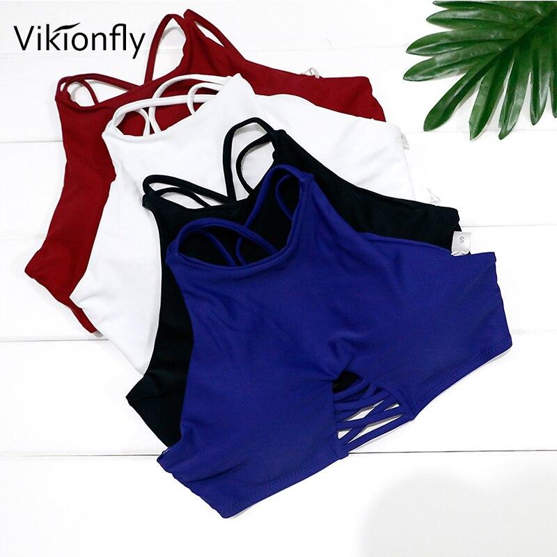 Vikionfly 10Color Bikini Top High Neck Swimwear Tops Women 2019 Cut Out Padded Swimsuit Swimming Bra Back Cross Bathing Suit