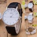 Geneve luxo Prata Aço Inoxidável Round Dial PU Couro Vestido Negócios Relógio de Pulso de Quartzo Presente Relógios De Pulso para Mulheres Dos Homens
