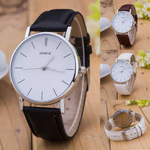 Luxurious Geneve Silver Stainless Metal Spherical Dial PU Leather-based Quartz Enterprise Gown Wrist Watch Wristwatches Reward for Males Girls