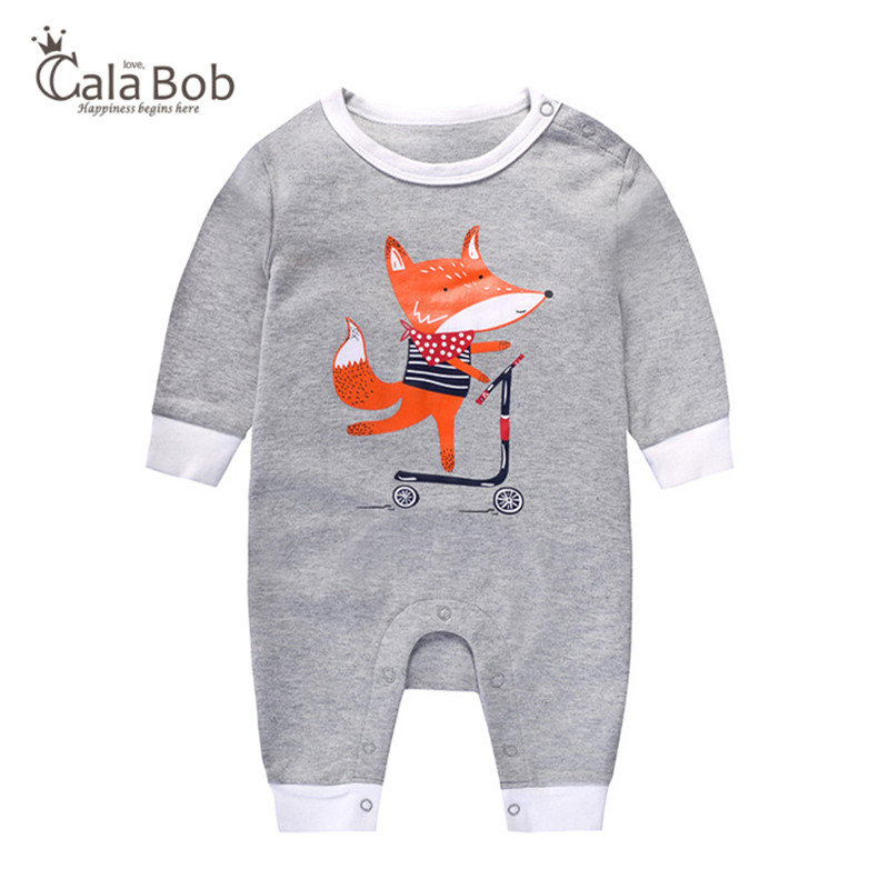 CalaBob 2018 Autumn Fox Baby Rompers Long Sleeve Cotton Baby Boy Jumpsuit Cartoon Printed Girls Romper Newborn Baby Clothes cute cotton newborn baby boy superhero letter printed long sleeve t shirt cartoon pants leggings outfit autumn clothes set 0 2y
