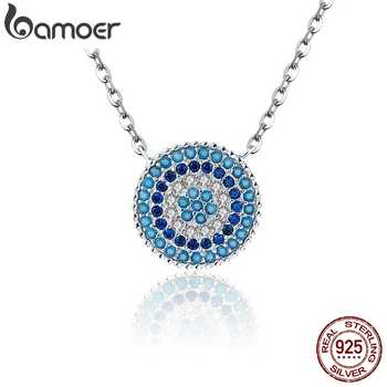 BAMOER Popular 925 Sterling Silver Round Blue Crystal Lucky Blue Eyes Women Pendant Necklaces Authentic Silver Jewelry SCN099 - DISCOUNT ITEM  30% OFF All Category