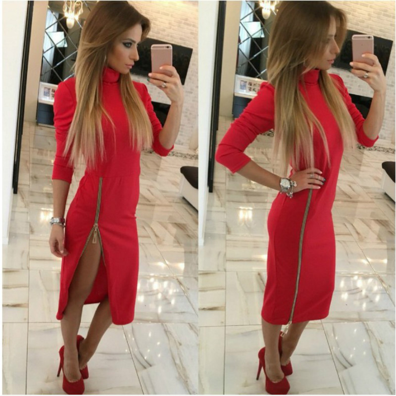 ROSASSY sexy  Women long Dresses Stand collar Strap Pack hip Bandage zip Dress high quality Club Bodycon Pencil Dress Sheath