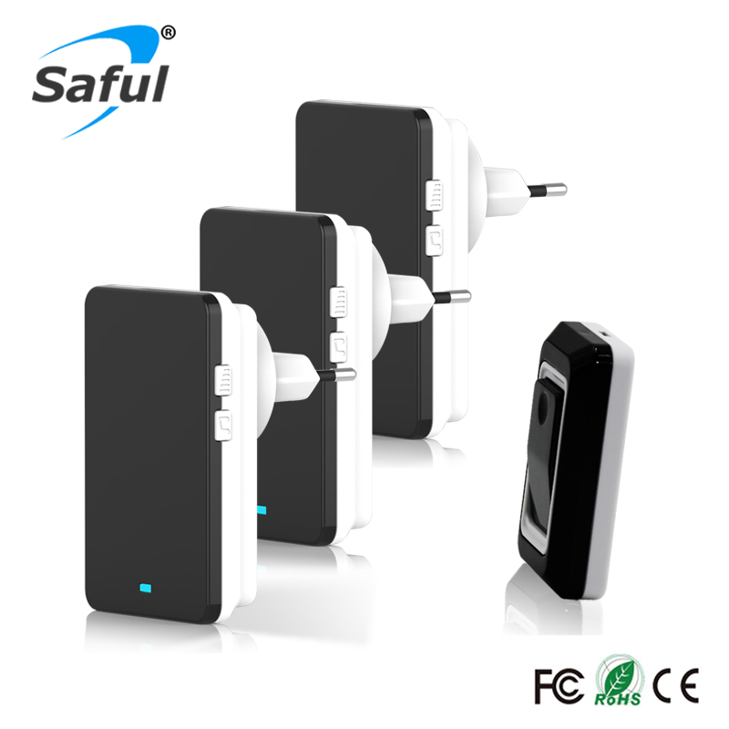 Saful Waterproof Doorbell kits Plug-in Wireless Touch Button Door Bell 1 Ourdoor Transmitter + 3 Indoor Receiver Free shipping saful wireless door bell waterproof push button doorbell with 1 indoor wireless doorbell receiver and 1 outdoor transmitter