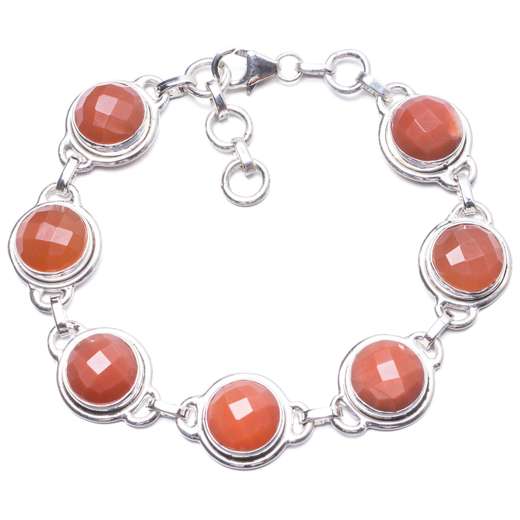 Natural Chalcedony Handmade Unique 925 Sterling Silver Bracelet 7 1/4-8 Y1977 цена