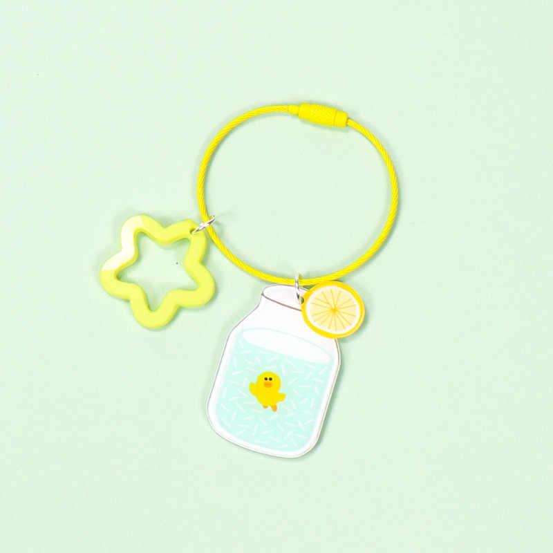 Coreano bonito simples fio de aço chaveiro acrílico caixa de leite figura chaveiro feminino para menina mochila encantos jóias