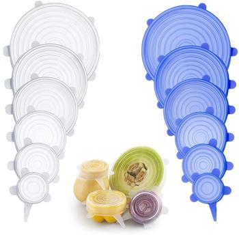 Универсальные силиконовые крышки дли пищи, растягивающиеся, для покрытия чашки/кастрюли, кухонные аксессуары, 6 шт.
