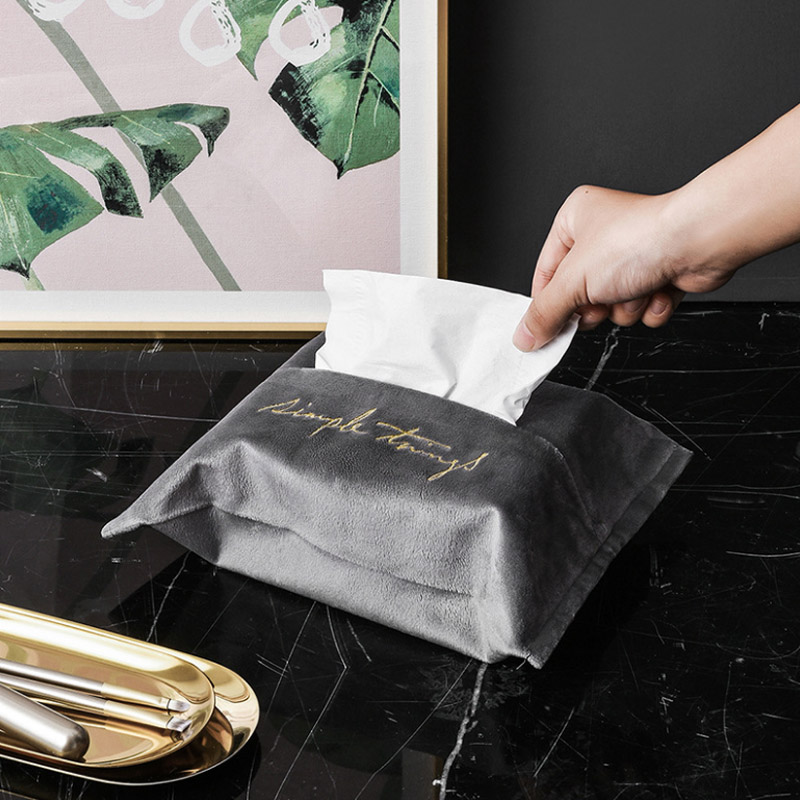 Nordic Style Embroidery Napkin Holder Tissue Box Wipes Cases Velvet Fabric Paper Towel Container for Home Desktop Car Decor 1PC