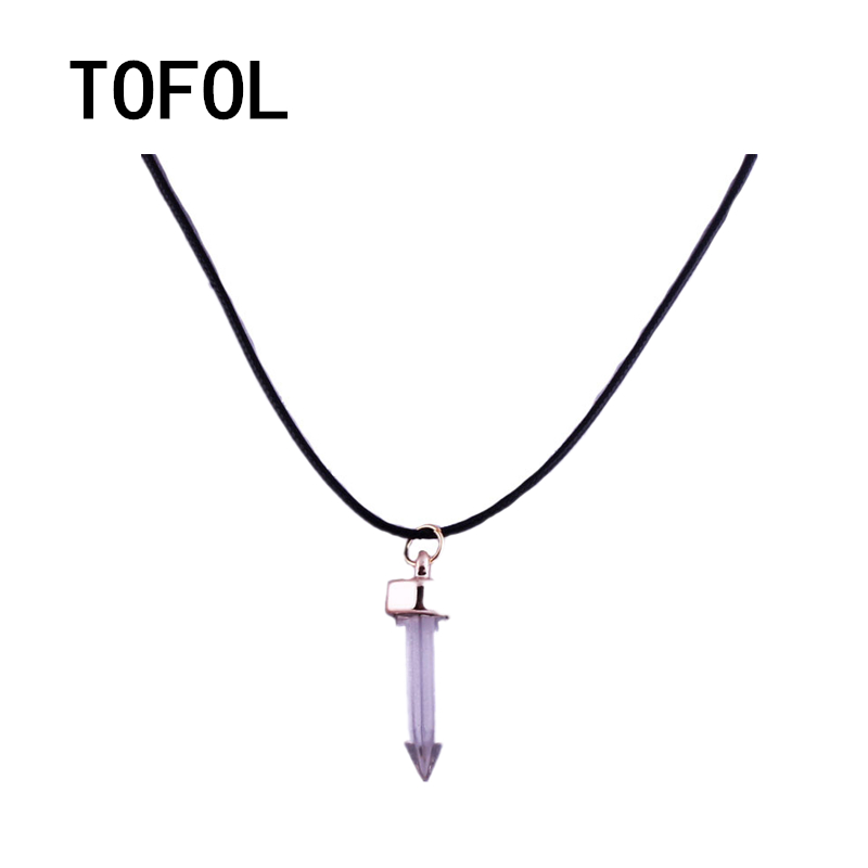 TOFOL Necklace Artificial Crystal Hexagonal Pendant Necklace Six Ling Angle Imitation Natural Stone Necklace medium