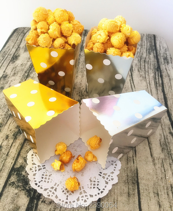 Free Shipping 24pcs Foil Gold/Silver Paper Treat Popcorn Box Lovely Dot Paper Box for Ho ...