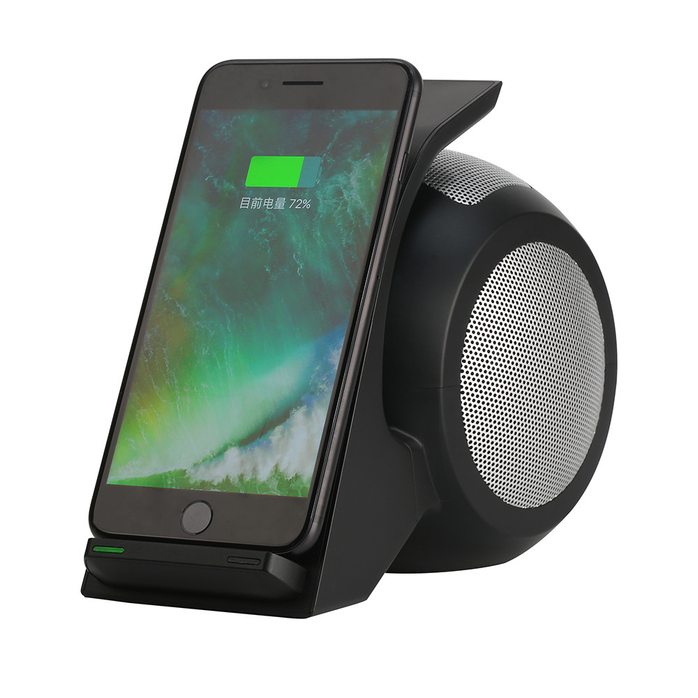 High-quality Qi Wireless Fast Charger Bass Stereo Speaker DC5V/2.0A Charger Charging Dock Stand For Iphone X Iphone 8 Samsung S8 baseus e50 24w bluetooth speaker with wireless charger function qi wireless charger speaker for iphone x samsung xiaomi huawei